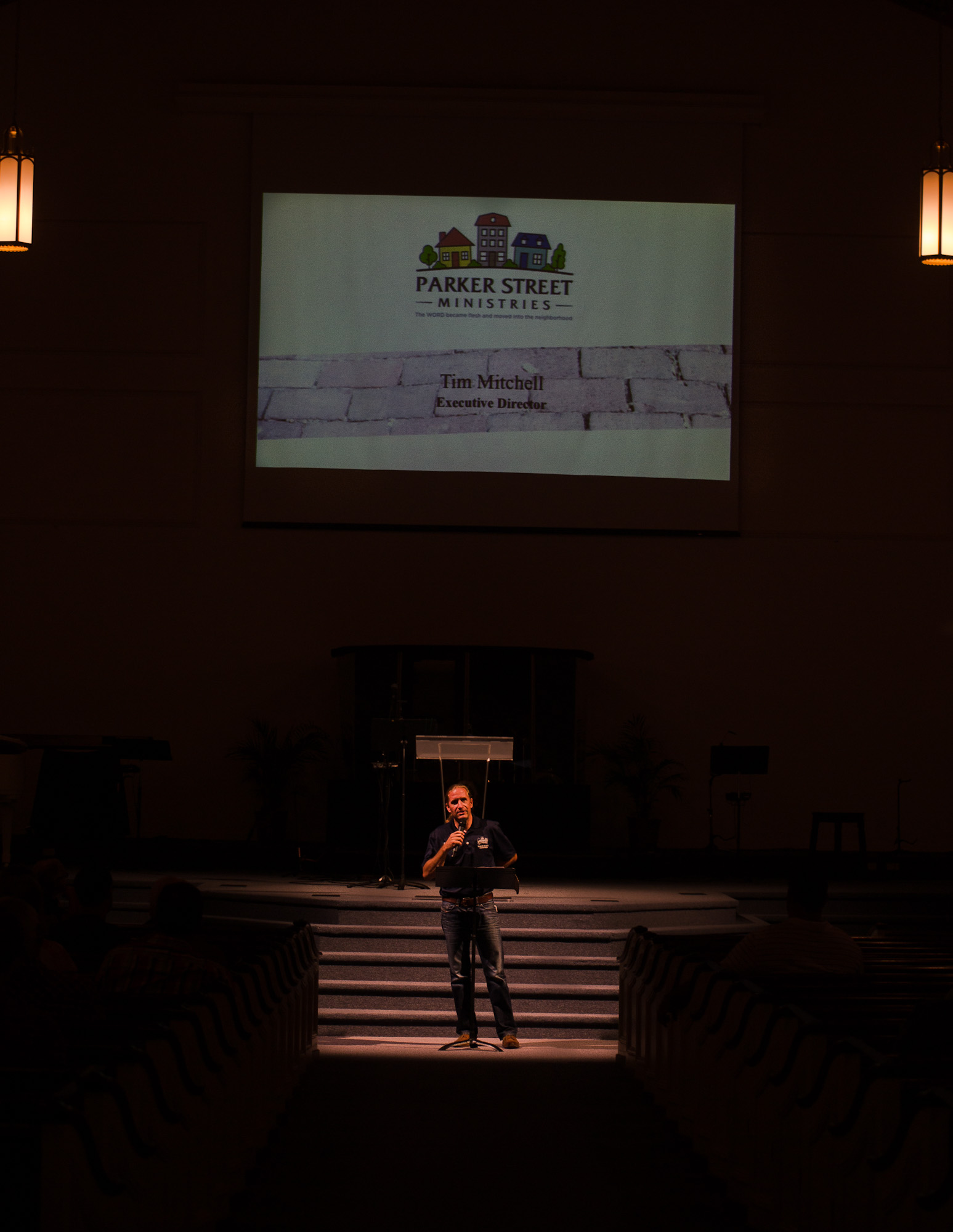 Tim Mitchell, Executive Director speaking at church