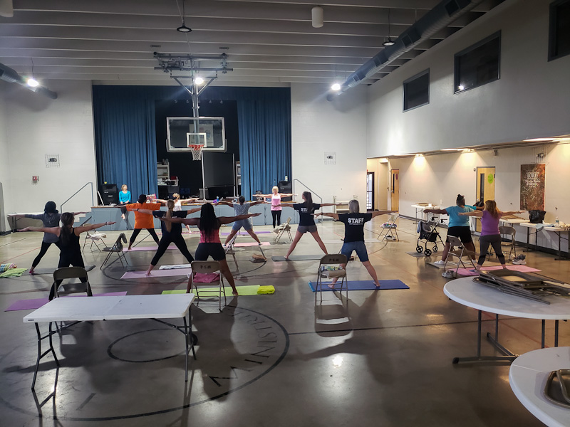 Ladies yoga night in the gym